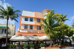 Art Deco Style Waldorf Towers in Miami Beach. Art Deco Style Building Waldorf Towers Hotel in Miami Beach in the morning, Miami, Florida, USA. Waldorf Towers royalty free stock images