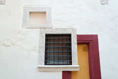 Art deco style wall with square windows Stock Photos