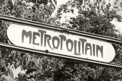 Art-Deco styled Street sign at the entrance to the Paris Metro Royalty Free Stock Photo