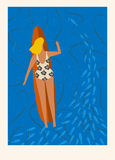 Art deco surf poster in vector. Summer beach surfing girl illustration. Love the ocean . Royalty Free Stock Photography