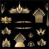 Art Deco szablonu DIY czarny set royalty ilustracja