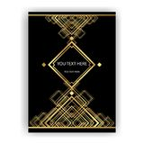 Art Deco template golden-black, A4 page, menu, card, invitation. Sun and city lights in a ArtDeco/Art Nuvo style, beautiful bakcground Stock Images