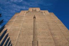 Art-Deco tower. Brick walls stock photo