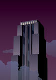 Art Deco Tower. Cartoon skyscraper at night in Art Deco style royalty free illustration
