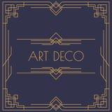 Art Deco und arabische Einladung kardieren quadratische Form der Schablone mit Rahmengoldfarblinieart vektor abbildung