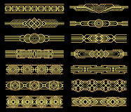 Art deco vector line borders set in 1920s graphic style. Vintage border pattern, illustration of frame golden baroque Stock Image