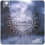 Art Deco Vintage Christmas greeting card. Sun burst frame. Great for retro style projects. Vector illustration. Blurred winter background Royalty Free Stock Photos