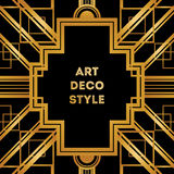 Art Deco vintage decorative frame. Retro card design template Royalty Free Stock Image