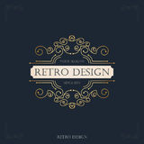 Art deco vintage design of retro flourishes frames. Royalty Free Stock Images