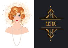Art Deco vintage invitation template design with illustration of. Flapper girl. patterns and frames. Retro party background set (1920's style). Vector for Royalty Free Stock Images