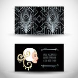 Art Deco vintage invitation template design with illustration of. Flapper girl. patterns and frames. Retro party background set (1920\'s style). Vector for Stock Image