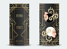 Art Deco vintage invitation template design with illustration of. Flapper girl. patterns and frames. Retro party background set (1920\'s style). Vector for Stock Photography
