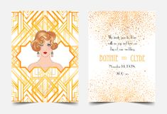 Art Deco vintage invitation template design with illustration of. Flapper girl. patterns and frames. Retro party background set (1920\'s style). Vector for Stock Photo