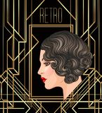 Art Deco vintage invitation template design with illustration of. Flapper girl. patterns and frames. Retro party background set (1920's style). Vector for royalty free illustration