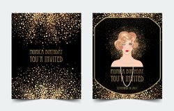 Art Deco vintage invitation template design with illustration of. Flapper girl. patterns and frames. Retro party background set (1920\'s style). Vector for Stock Images