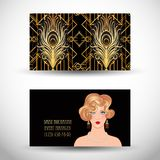Art Deco vintage invitation template design with illustration of. Flapper girl. patterns and frames. Retro party background set (1920's style). Vector for Stock Photography