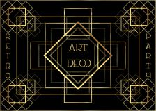 Art Deco vintage invitation template design with illustration of gold geometric motif. patterns and frames. Retro party background. 1920s style. Vector for stock illustration