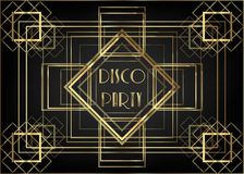 Art Deco vintage invitation template design with illustration of gold geometric motif. patterns and frames. Retro party background. 1920s style. Vector for vector illustration