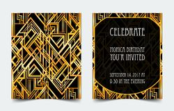Art Deco vintage invitation template design. patterns and frames. Retro party geometric background set (1920's style). Vector illustration for glamour event Royalty Free Stock Images