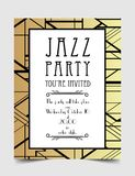 Art Deco vintage invitation template design. patterns and frames. Retro party geometric background set (1920's style). Vector illustration for glamour event Stock Photography