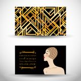 Art Deco vintage invitation template design. patterns and frames Royalty Free Stock Image