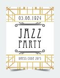 Art Deco vintage invitation template design. patterns and frames. Retro party geometric background set (1920\'s style). Vector illustration for glamour event Royalty Free Stock Photos