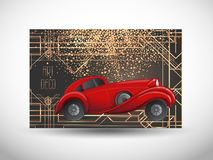 Free Art Deco Vintage Invitation Template Design With Illustration Of A Red Car. Vector Illustration. Roaring Twenties. Classic Royalty Free Stock Photos - 157466528