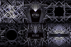 Art Deco vintage patterns and design elements. Retro party geome Royalty Free Stock Image