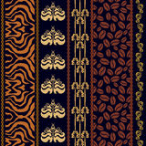 Art deco vintage silk wallpaper with ethnic motifs and bohemian elements. Stock Image