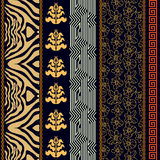 Art deco vintage silk wallpaper with ethnic motifs and bohemian elements. Royalty Free Stock Photography