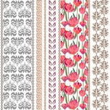Art deco vintage silk wallpaper with ethnic motifs and bohemian elements. Stock Photo