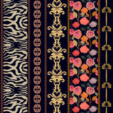 Art deco vintage silk wallpaper with ethnic motifs and bohemian elements. Royalty Free Stock Images