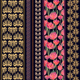 Art deco vintage silk wallpaper with ethnic motifs and bohemian elements. Royalty Free Stock Photo