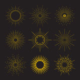 9 Art deco vintage sunbursts collection with Stock Image
