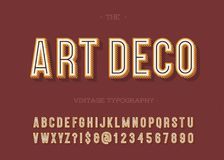 Art deco vintage typography. Alphabet modern. Retro font sans serif style for party poster, printing on fabric, t shirt, promotion, decoration, stamp, label Stock Photo