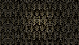 Art Deco Wall. An art deco styled wallpaper pattern in gold and black vector illustration