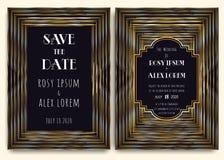 Art Deco Wedding Card mit einem Gold-kopierten Hintergrund vektor abbildung