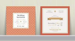 Art Deco Wedding Invitation Card dans l'or et l'orange Photos stock
