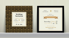 Art Deco Wedding Invitation Card in Gold and Black Colour Royalty Free Stock Photo