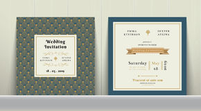 Art Deco Wedding Invitation Card in Gold and Blue. On wood background Royalty Free Stock Photos