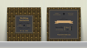 Art Deco Wedding Invitation Card  in Gold and Dark Gray. On wood background Stock Photos