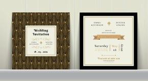 Art Deco Wedding Invitation Card im Gold und in der schwarzen Farbe Lizenzfreies Stockfoto