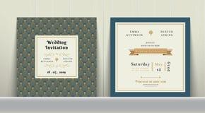 Art Deco Wedding Invitation Card no ouro e no azul ilustração stock