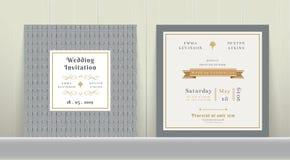 Art Deco Wedding Invitation Card no ouro e no cinza ilustração stock