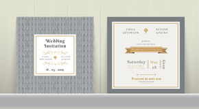 Art Deco Wedding Invitation Card in oro e nel Gray Fotografia Stock