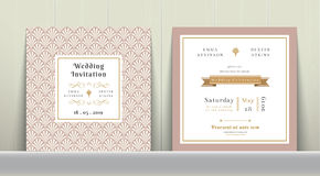 Art Deco Wedding Invitation Card in oro e nel rosa Fotografia Stock