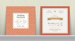 Art Deco Wedding Invitation Card in oro ed in arancia Fotografie Stock