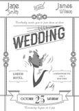 Art deco wedding invitation card template on white background vector illustration. Stock Image