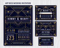 Art Deco Wedding Invitation Design-Schablone Lizenzfreie Stockfotografie