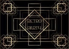 Art Deco-Weinleseeinladungs-Schablonendesign mit Illustration des Goldgeometrischen Motivs Muster und Rahmen Retro- Parteihinterg lizenzfreie abbildung